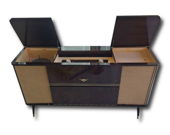 Stereo Console Grundig // Mid Century Modern // Repurposed With All New MODERN Electronics // New Turntable // Bluetooth Amplifier