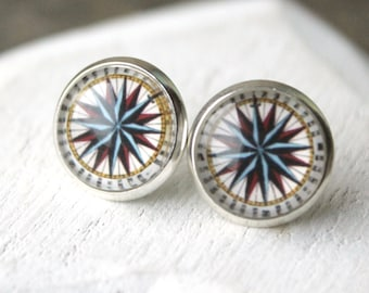 Compass earrings STUDS or CLIP on Earrings, Old Compass Post earrings, small round 12mm, Gift for Traveller Boucles D'Oreilles E603