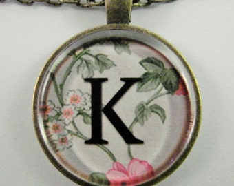 """Initial """"K"""" Necklace -- Spring pattern Personalized Letter K Necklace, Wedding Necklace, Bridesmaid Necklace, Hen Night Necklace, Friendship"""