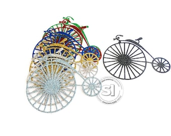 Glitter Vintage Style Bicycle Cut-outs, Embellishments - Choose Your Colors