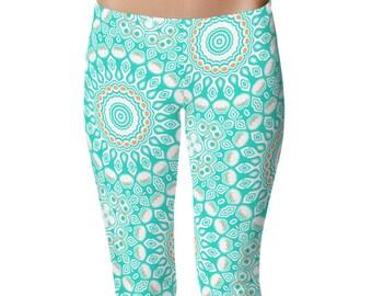 Print Yoga Pants, Aqua Leggings, Turquoise Leggings, Blue and White Printed Yoga Leggings