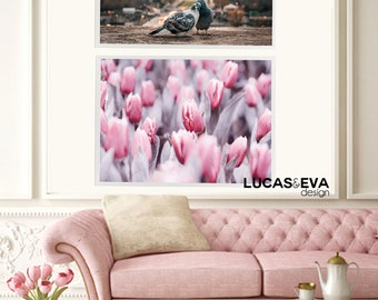 Pink tulips wall paper, Instant download, Digital print, Home design, Interior design, Home decoration ideas