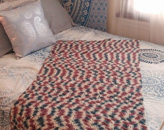 Vintage Crochet Afghan // Throw Blanket // Twin Bedding // Vintage Boho Decor