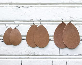 Saddle Brown Leather Teardrop Earrings