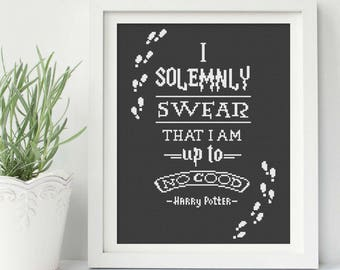 Harry Potter Solemnly Swear Cross Stitch Pattern, Harry Potter Qute Cross Stitch,Marauder's Map, Home Modern Decor, pdf Instant Download