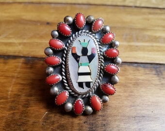 Vintage RHB Navajo marked Authentic Roland Hogan Begay Apache Crown Dancer (Kachina) red coral Ring