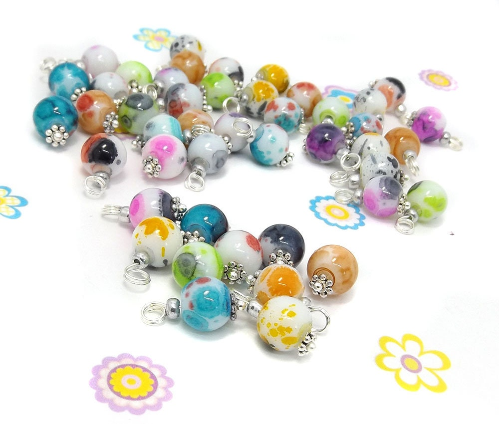 Glass Bead Charms - Pre-wired Dangle Beads for DIY jewellery ...