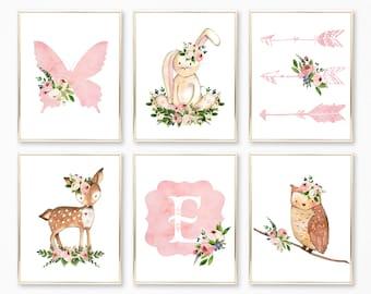 Nursery Wall Art.  Nursery Decor. Nursery Prints. Floral Nursery Decor. Baby Girl Wall Art. Print Collection. Pink Nursery Art. Butterfly.