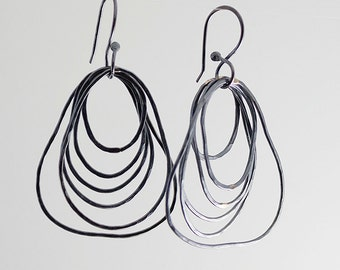 Lightweight Sterling Silver Earrings, Modern Jewelry, Organic Circles, Handmade Earrings, Drop Earrings, Long Earrings