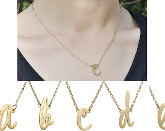 Personalized initial Name Necklace - Initial Necklaces in Golden Silver A-Z