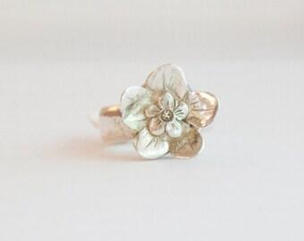 Feiner Silber, Metall Ton Blume RING, Vergissmeinnicht,