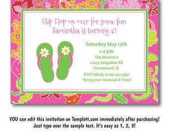 Pool Party Invitation, Flip Flop Party Invitation, Flip Flop Pool Party Invitation, Digital Pool Party Invite, Instant Download, Templett