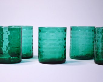 9 vessels of glass emerald green Vintage 70s