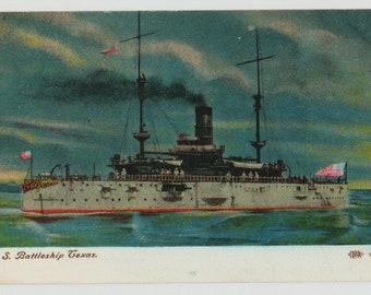 Linen Postcard, U.S.S. Texas Battleship, Military Ship, ca 1906