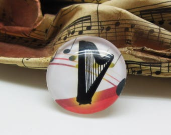 2 cabochons Musical Instrument harp multicolor - 14 mm black glass 14 mm