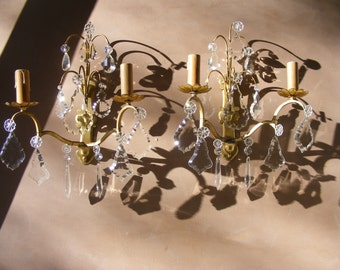 Beautiful Antique French Large Brass and Crystal pendants Wall Sconces.