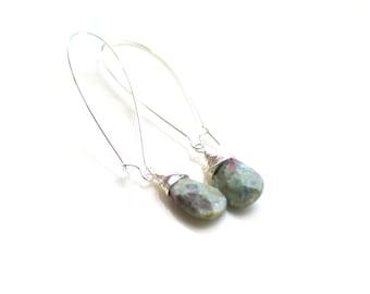 woodland long teardrop earrings. chrysoprase gemstone earrings sterling wrapped green with specks of purple / birthday gift / lightweight