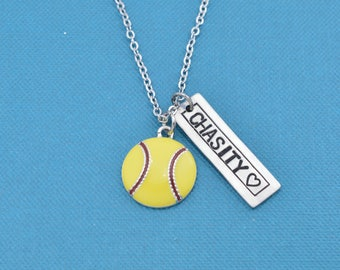 Softball Necklace.  Personalized jewelry. Personalized necklace. Name Necklace. Custom necklace. Personalized gift