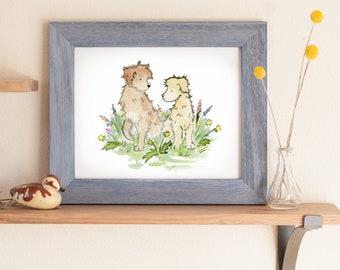 Labradoodle Print, Golden Doodle Art, Poodle Art, Dog Breed Art, Doodle, Dog Lover, Children's Art, Nursery Decor, Baby Shower Gift Kids Art