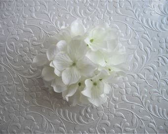 Hydrangea Hair Clip White Large Statement Hydrangea Cluster Bridal Hair Accessory Rehearsal Dinner After Ceremony Designed by handcraftUSA