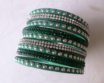 x 1 green pattern rhinestone/rivet silver plated clasp 20 cm adjustable leather strap