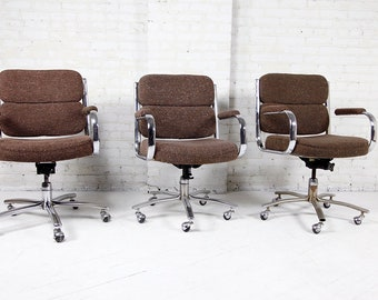 Vintage brown office chairs made in Canada