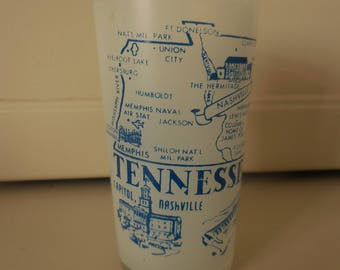 Frosted TENNESSEE Vintage Drinking Glass