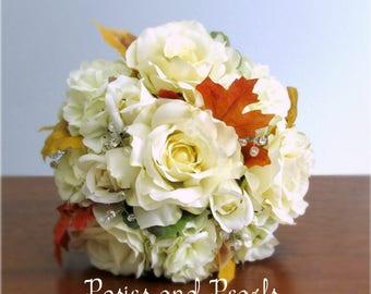 "Ivory Bridal Bouquet & Groom's Boutonniere, Silk Roses, Hydrangea, Fall Leaves, Rhinestone Crystals, Fall Wedding,"" Autumn Glow"""
