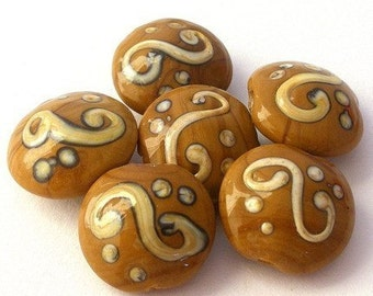 6 coffee swirled beads, cafe au lait lampwork, taupe lentil shaped beads, brown and white swirl