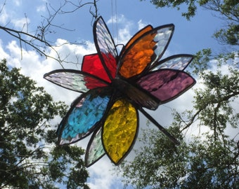 Stained glass  3-D garden flower