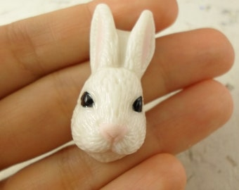 Animal Cabochon Bunny , Porcelain Animal cabochon, Porcelain by Lana Manna