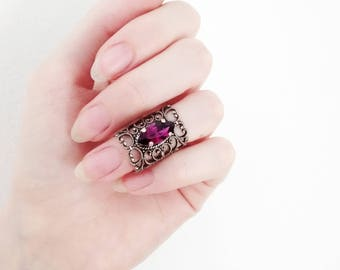 Midi Ring Filigree Gothic Ring Victorian Ring Silver Knuckle Ring Purple Swarovski Crystal Ring Gothic Jewelry