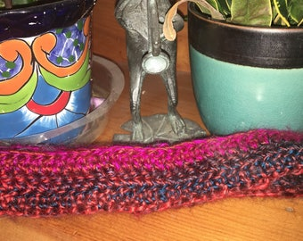 Colorful, Purple, Pink and Blue, Crocheted Headband