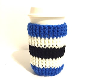 Football cup cozy, team colors cozy, blue black white, large coffee cozy, striped java cozy, latte cup sleeve, tall cozy, cup of joe cozy