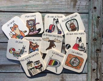 Trois pictogrammes au choix, en bois - Routine quotidienne - 3 à 5 ans