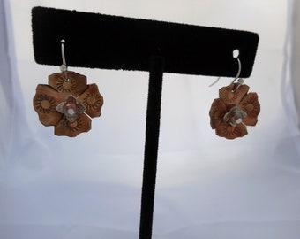 Stamped Copper Flower Earrings