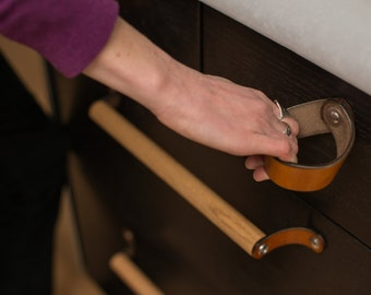 """Leather Drawer Pull - The """"Fremont"""" - Leather Cabinet Door Knobs and Drawer Handles"""