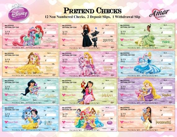Disney Princess Pretend Play Checks Disney Printables Party