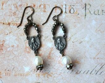 Sacred Heart Earrings, Religious Earrings, Pearl Earrings, Assemblage Earrings, Re-purposed Earrings, Religious Jewelry, Rosary Earrings