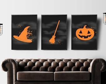 Halloween print set 3, witch art print, halloween printable decor, halloween decor, fall art, halloween print, printable art, fall decor