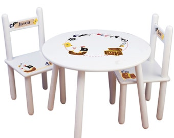 Custom Pirate Childs Table & Chair Set Kids Personalized Furniture for Childs Boys Pirate Decor Nursery Play Room or Bedroom TABLESETRND-214