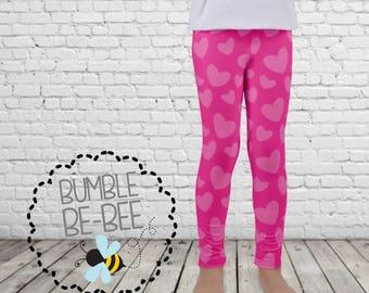 Grils Valentine Leggings heart leggings pink heart leggings youth leggings pink leggings valentines day leggings Kid's leggings