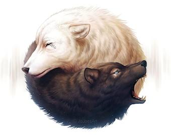 Yin and Yang - Signed Fine Art Giclee Print - Wall Decor - Fantasy Wolf Painting by Jonas Jödicke