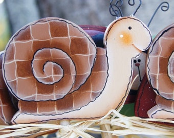 Snail Plant Poke Stick - Insect Wood Garden Sign Decor