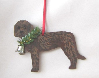 Hand-Painted LABRADOODLE CHOCOLATE Wood Christmas Ornament...Artist Original, Christmas Tree Ornament Decoration