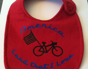 America, Bike, Land I Love, Patriotic SVG Cut File, Vinyl Cutting File, Pillow, Bib, TShirt, Tote Design for digital cutting machines
