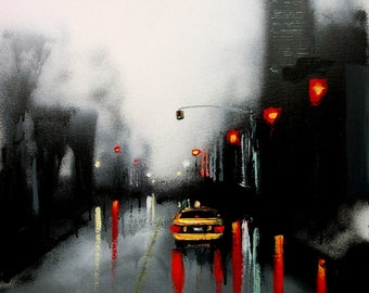 City Art - Cityscape - Print of City - Black and White - Taxi - Faces of The City 138 - 20x20 print reproduction by Aja