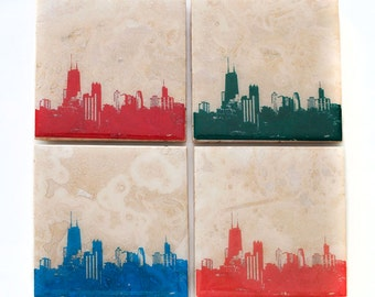 Chicago Skyline Edition I Coaster Set (4 Stone Coasters, Red, Green, Blue, & Orange) Cityscape Home Decor