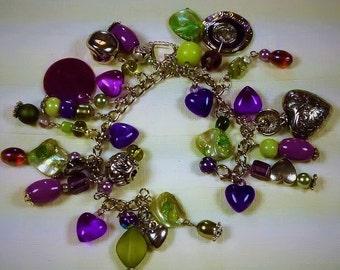 MJ-114 Purple and Lime Green Charm Bracelet