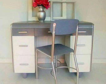Vintage mid century Art Deco Waterfall Student Desk or Vanity